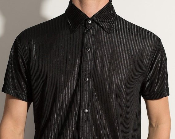Vintage Black Shirt - Men's Medium Button Down Shiny pinstriped Pattern Shirt - Formal Event Short Sleeved Casual shirt - 80's Rockstar