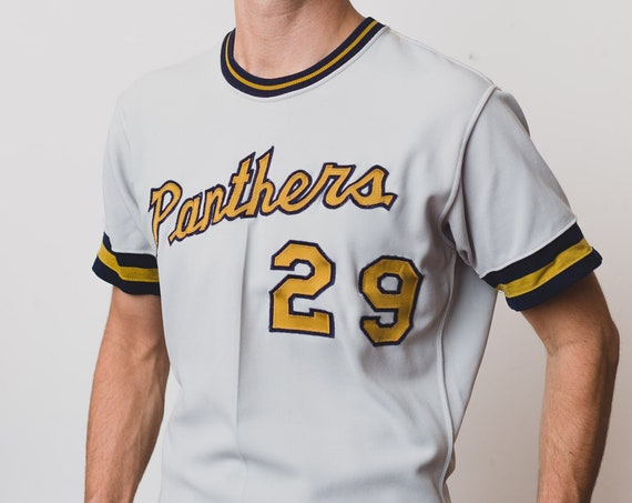 Vintage Panthers Jersey - Men's Retro T-Shirt - Medium Size Grey and Yellow Sports Varsity Tee by Rawlings Sportswear - Baseball Shirt