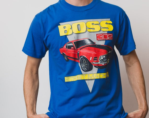 Vintage Men's T-Shirt - Blue Large Size Tee with Red Sports Car Street Machine and 'BOSS' in Yellow