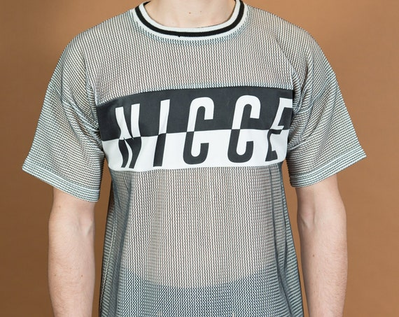 Nicce Mesh T-Shirt - Medium Greyish Tee with Logo on Front - Transparent T-shirt