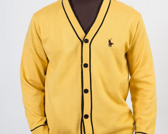 Vintage Yellow Cardigan - Large Size Men's Pretty Ralph Pauren Polo Sweater -Solid Knit Christmas Button up jumper for Him