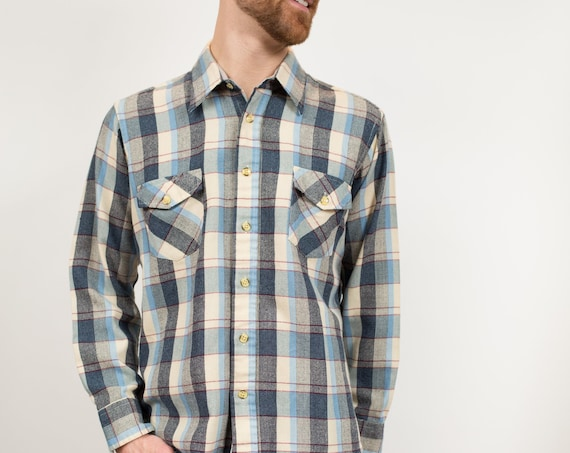 Vintage Men's Flannel Shirt - Large North Country Acrylic Plaid Shirt - Checkered Outdoor Lumberjack Shirt - Button up Blue Western Wear