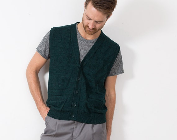 Vintage Green Sweater Vest - Solid Knit Medium Size Wool Blend Button up Vest for Him