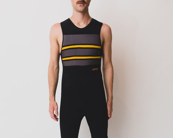 Men's Vintage Wetsuit Tank Top - Medium Size Black BARE Velcro Zip up Diving Surfing Boating Summer Slim Suit