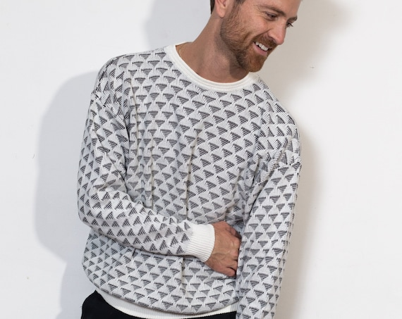 Vintage Monochromatic Sweater - Medium Black and White Pullover - Made in Italy - Geometric Pattern Crew Neck Fresh Prince Preppy Sweater