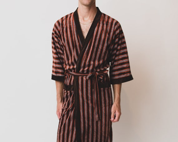 Men's Vintage Robe - Medium Size Brown Striped Pajamas / Dressing Gown - Bedroom Attire - Gift for him - Gift for Dad