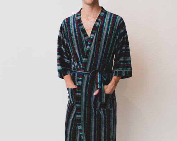 Men's Vintage Robe - Medium Size Green Striped Pajamas / Dressing Gown - Bedroom Attire - Gift for him - Gift for Dad