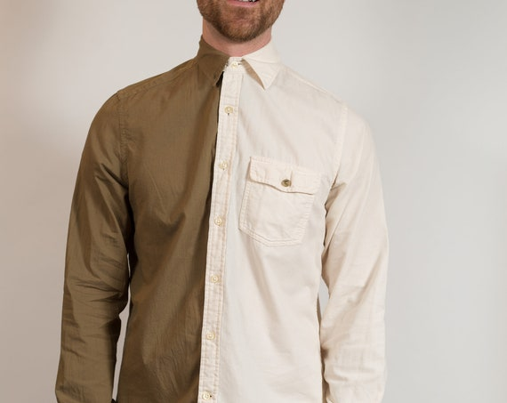 Vintage Men's Dress Shirt - Split 2-tone Color Blocked Medium Size Brown and Cream Button up Shirt - Boho Modern Streetstyle Shirt