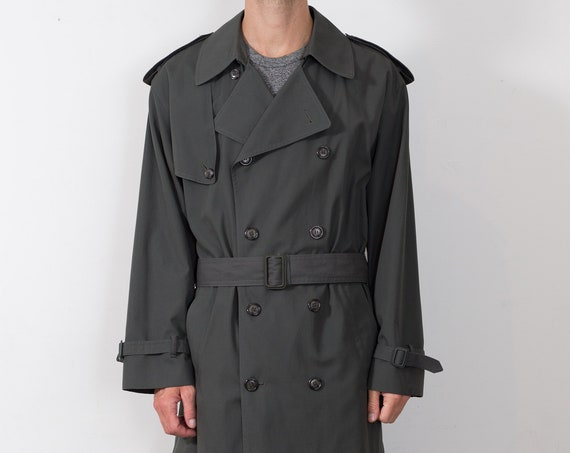 Vintage Green Overcoat - Men's Mod Lightweight London Fog Long Medium Size Jacket with Removable Lining