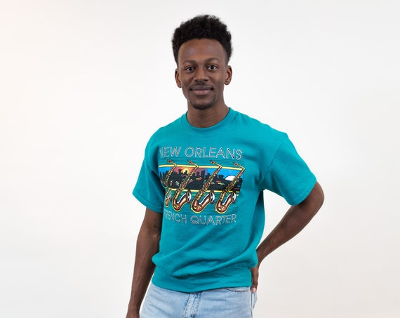 Vintage Cotton Sweater with Short Sleeves - 90s Men's Medium New Orleans French Quarter Blue/Green Pullover - Tuba Instrument Musician Shirt
