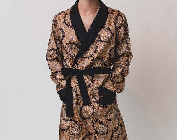 Vintage Men's Robe - Unisex Paisley Silk-like Gold and Black St. Michael Pajamas / Dressing Gown - Bedroom Attire - Gift for him or Her