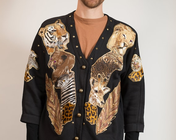 Vintage Animal Print Jacket - Unisex Women's or Men's Black Button up with Wild Animal Motifs and Gold Glitter Detailing