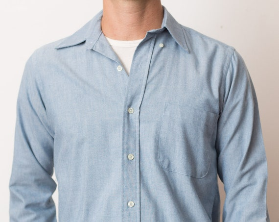 Vintage Men's Blue Shirt - Medium Size Hunt Club Button Down Oxford - Casual Long Sleeved Office Shirt
