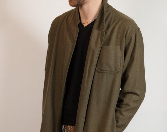 Green Vintage Robe - Medium Army Green Unisex Men's or Womens Wool Jacket or Lounge Robe -