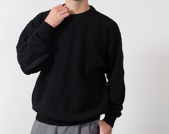 Vintage Black Sweater - Men's Crew Neck - Solid Knit Oversized Large Size WinterPullover Jumper for Him