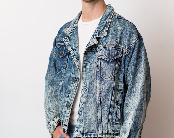 Vintage Denim Jacket - RG Browns Jeans Spring Button Up Stone Washed Cropped Top Coat - Made in Canada