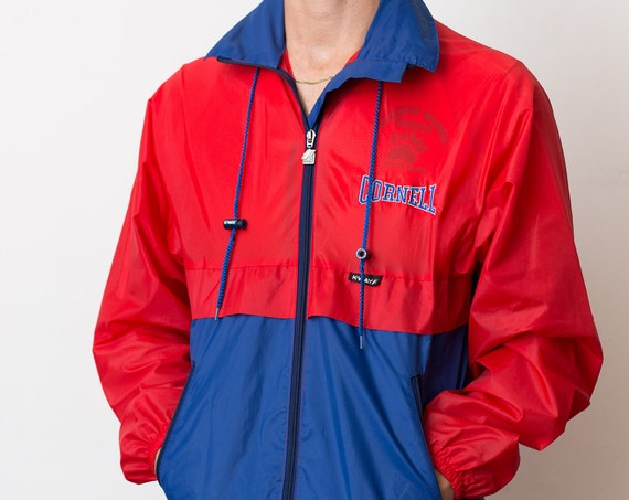 Men's K-Way Windbreaker - Vintage Blue and Red Nylon Jacket - Vintage Cornell Ski Jacket - Medium Snowmobiling Winter Coat