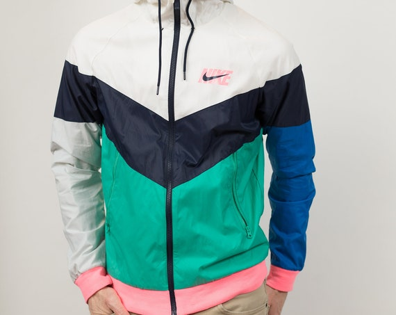 Nike Colour Blocked Zip up Windbreaker - Retro Activewear - Men's Small Size Athletic Sports Track Jacket