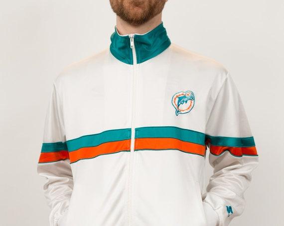 Vintage Colour Blocked Zip up Sweater - NFL Dolphins White Medium Size Men's Athletic Sports Track Jacket