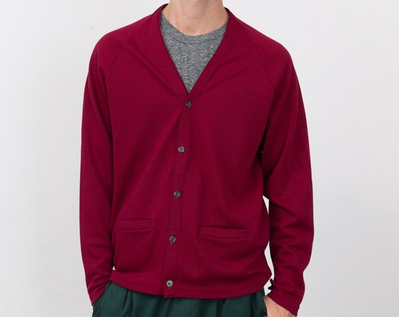 Vintage Red Cardigan- Burgundy Aquamatic by Shelby Vest - Solid Knit Large Size Christmas Button up Jumper for Him