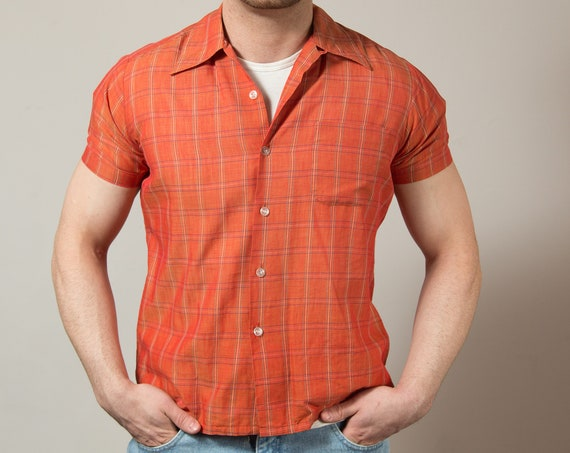 Vintage Orange Shirt / Mens Medium Burnt Orange Button up Casual Short Sleeved Checkered Summer Beach Shirt
