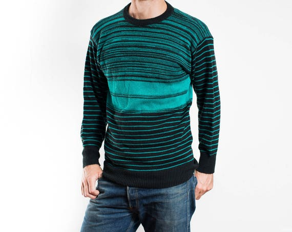 Vintage Mens Sweater / Green and Black Striped Pullover / Made in Italy