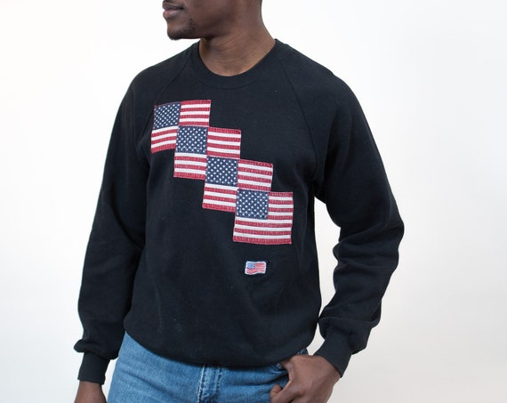 Vintage American Flag Sweater - Cotton Pullover with USA Pride - 90's Men's WOmen's Medium Patriot Shirt - Made in USA