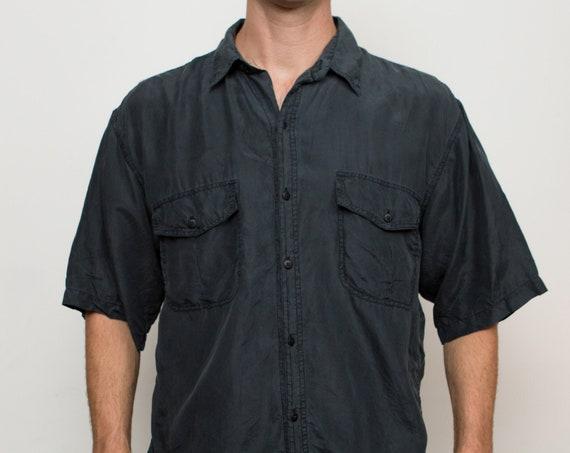 Vintage Men's Silk Shirt - Medium Size Charcoal coloured Button up Shirt - Office Casual Fall Autumn Shirt