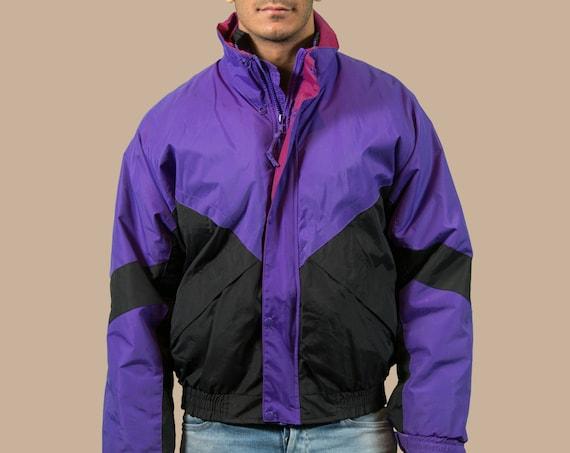 Vintage Neon Ski Jacket / Small Purple Men's 90's Colour Blocked Snow Coat Windbreaker - Sporty Jock Hockey University Coat - Fresh Prince