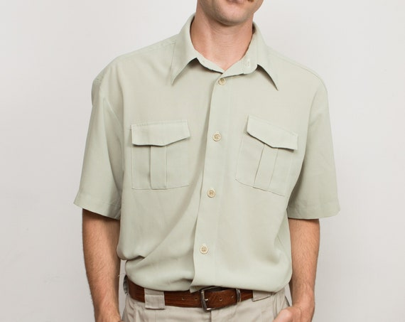 Vintage Soft Green Shirt - Men's / Women's Medium Size Button Down Short Sleeve Shirt - Lightweight Summer Shirt with Chest Pockets