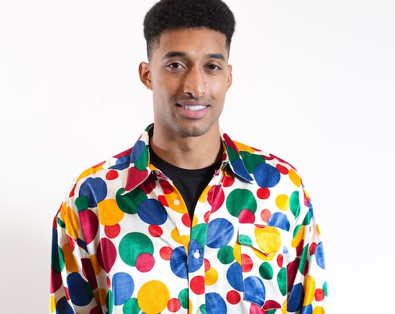 Vintage Polka Dot Shirt / Wonderbread Vibes Rainbow Dotted Mens Large Button up Casual Long Sleeved Boho Funky Stark Realism Shirt