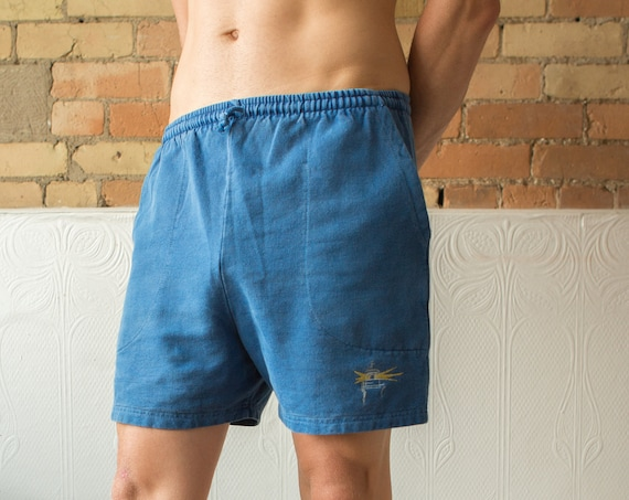 Vintage Athletic Shorts - Retro Workout or Beach Shorts with Elastic Waist - Blue Track Pants Style Men's Cotton Gym Trunks