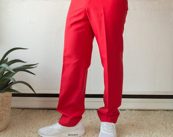 "Vintage Mens Red Dress Pants - 32"" Retro 80's High Waisted Semi-casual Trousers / Slacks"