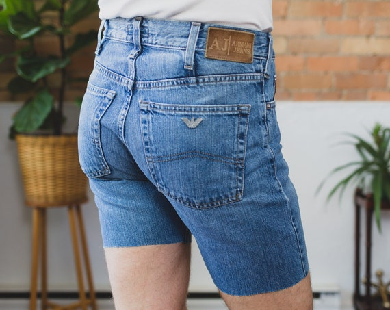 Vintage Armani Shorts - Men's 32 Wasit Size Jean Denim Cut Shorts - Made in Italy - Indigo 004 Series AJ