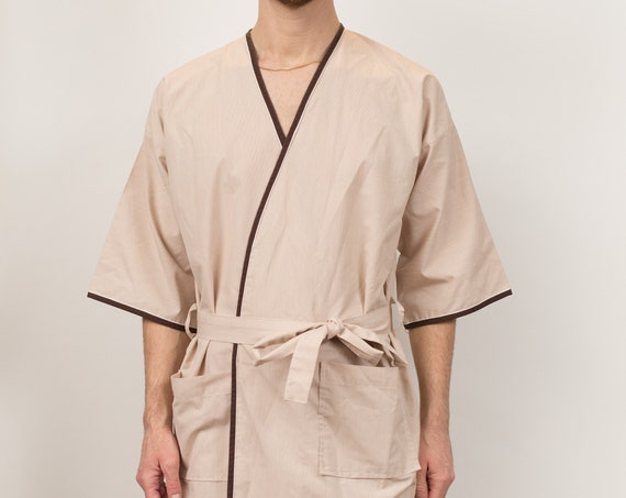 Men's Vintage Robe - small-Medium-large Size Beige Pajamas - Smoking Robe - Dressing Gown - Bedroom Attire - Gift for him - Gift for Dad