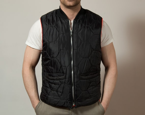 Vintage Men's Vest / Large Black Dox Unorthodox Nylon Vest / Casual Preppy Outdoors Zip up