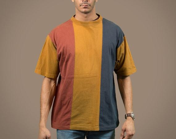 Vintage Color Blocking Shirt - Men's 80's Striped Tee - Earth Tone Hip Hop Fresh Prince T-shirt - Designer Wilke-Rodriquez
