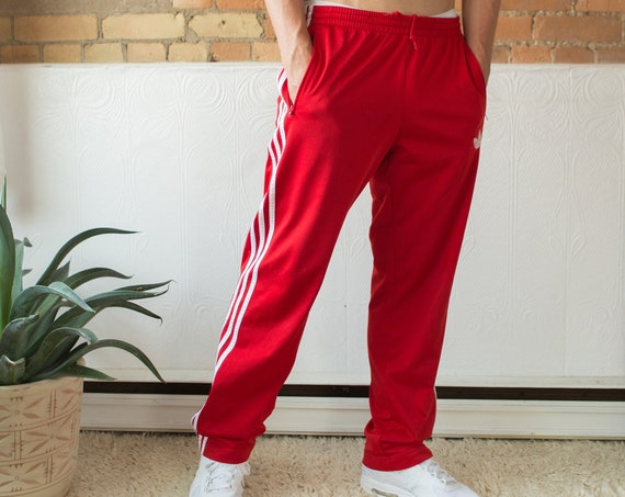 Red Adidas Men's Pants - Medium Size Casual Athletic Sports Striped Track Pants - Street Style Workout Pants
