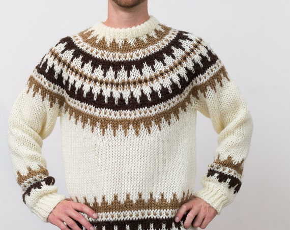 Vintage Wool Sweater - Medium Hand Knit Mens GeometricBrown and Cream Diamond Chevron Pattern Pullover Sweater