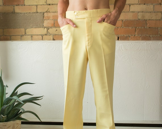 "Vintage Mens Yellow Dress Pants - 32"" Retro 70's High Waisted Trousers - Houndstooth Fancy Pants / Slacks"