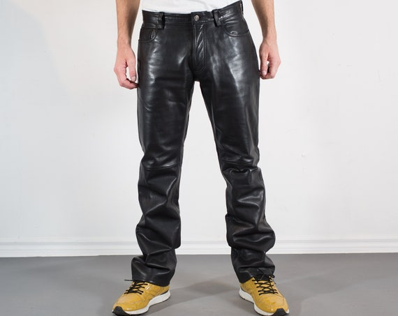 Vintage Mens Black Leather Pants - W32 GAP Pants