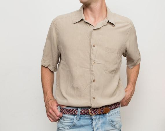 Vintage Men's Silk Shirt - Large Size Beige Button up Shirt - Office Casual Fall Autumn Shirt