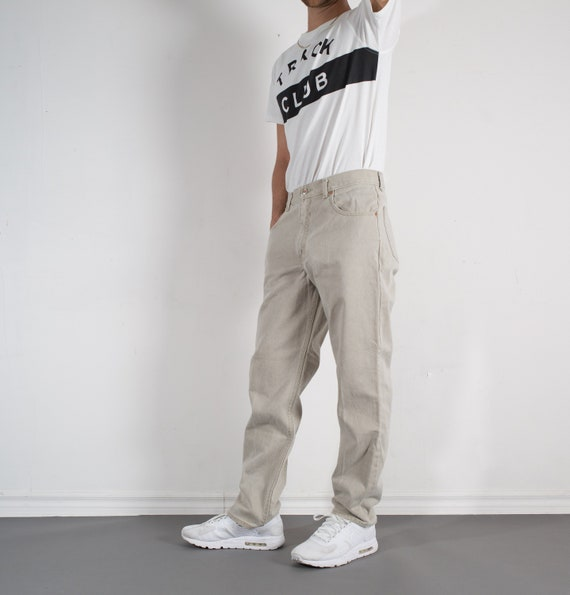 Vintage Grey Jeans - Washed Denim Pants - Mens W32 Green Arizona Trousers Trousers / Slacks