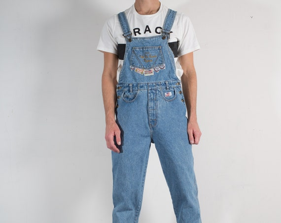Vintage Denim Overalls - Mens / Women's Unisex Blue Blue Jeans - W34 Faded Stone Wash Blue Denim Pants with Buckled