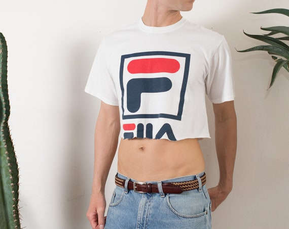 Cropped Fila Shirt - Men's or Women's Medium Size White Coloured Crop Top T-shirt