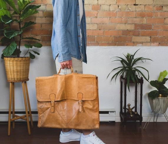 Vintage Suit Bag - Tan Brown Leather Dressy Retro Carry on Bag for Office, Travelling - Weathered Light Brown Leather Strap Bag