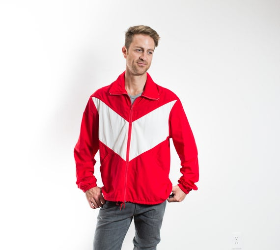 Vintage Trimark Windbreaker / Large Red and White Mens 80's Red and White Nylon Jacket