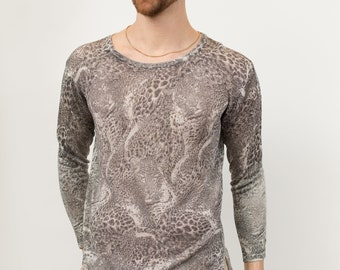 00c9419f Animal Print Shirt - Unisex Women's Long Sleeved Grey Snake Skin Pattern  Crew Neck Causal Shirt