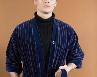 Vintage Men s Robe - Blue Striped Valour Loungeware Pajamas - Dressing Gown  - Bedroom Attire - Gift for him - Smoking Robe b596596c6
