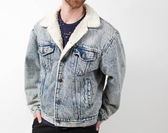 44e5526a4c Denim Fur Jacket   Vintage Faded Acid Wash Jean Coat with White Faux Fur  Lining